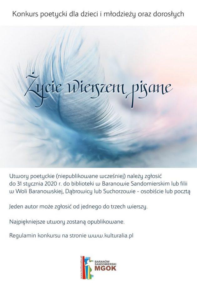 Konkurs Poetycki życie Wierszem Pisane Nadwisla24pl